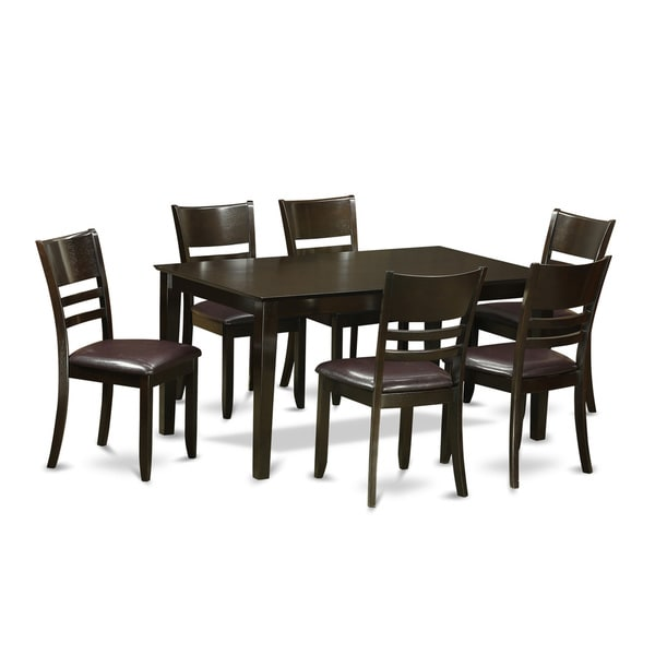 Brussels Traditional Dining Room Set 7 Piece Set: Capri Cappuccino Finish Solid Rubberwood 7-Piece Formal