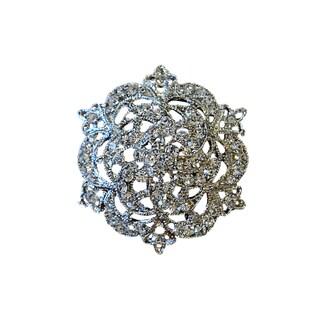 5B02 Silver Rhinestone Brooch