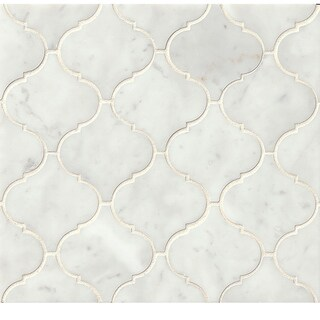 Bedrosians White Carrara Arabesque Mosaic Honed Stone Tile (Box of 10 Sheets) (2 options available)