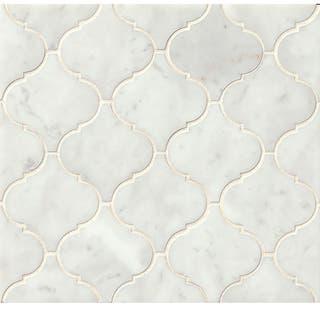 Bedrosians White Carrara Arabesque Mosaic Honed Stone Tile Box Of 10 Sheets