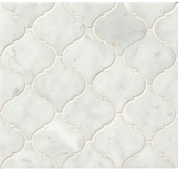 Bedrosians White Carrara Arabesque Mosaic Honed Stone Tile
