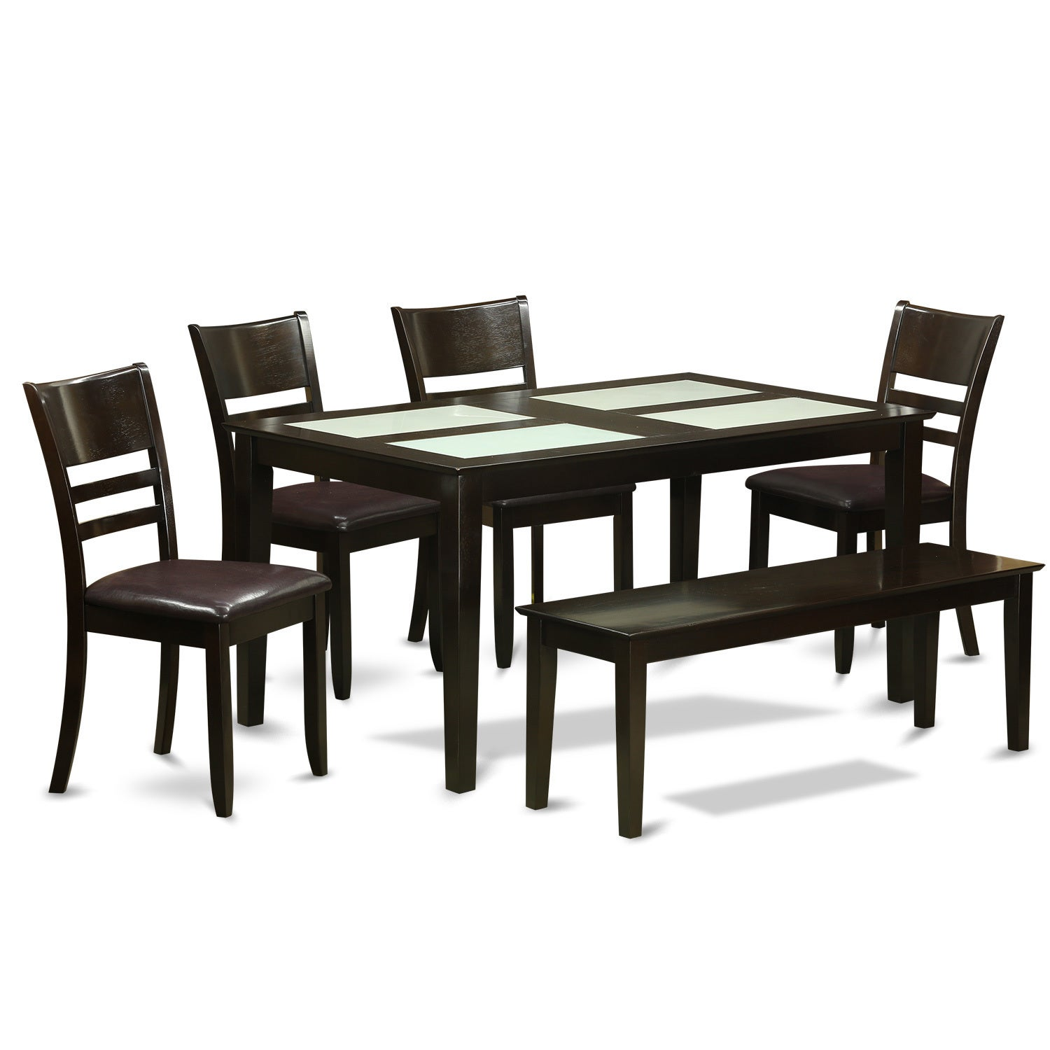 Shop Cappuccino Rubberwood 6 Piece Dining Room Set With Glass Top Dining Table And 5 Chairs Overstock 12025840