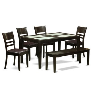 Cappuccino Rubberwood 6-piece Dining Room Set with Glass Top Dining Table, and 5 Chairs