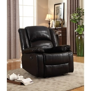 Samantha Bonded Leather Glider Recliner, Black Color