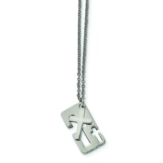 Versil Chisel Men's Stainless Steel Polished 18.25-inch Cross Necklace
