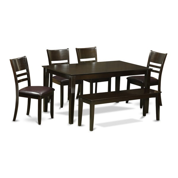 Capri Cappuccino Finish Solid Rubberwood 6 Piece Dining