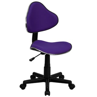 Art Deco Purple Fabric Armless Adjustable Swivel Office Task Chair