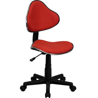 Art Deco Black/Red Fabric/Metal Armless Adjustable Swivel Office Task Chair
