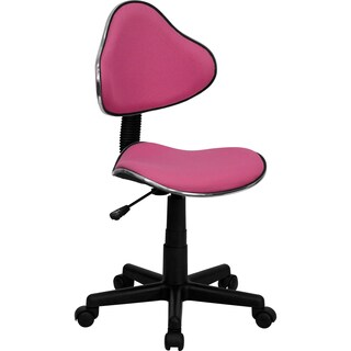 GG-KNIP-996-TB Pink Nylon Fabric Art Deco Armless Adjustable Swivel Office Task Chair