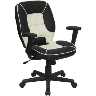 Suno Black and Cream Leatherette Adjustable Swivel Executive Office Chair