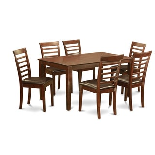 Traditional Mahogany Finish Solid Rubberwood 7-Piece Dining Set with Dining Table and Six Chairs