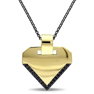 V1969 ITALIA Men's Black Sapphire Insignia Necklace in 18k Yellow Gold Plated Sterling Silver