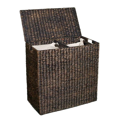 BirdRock Home Espresso Oversized Divided Hamper with Liners