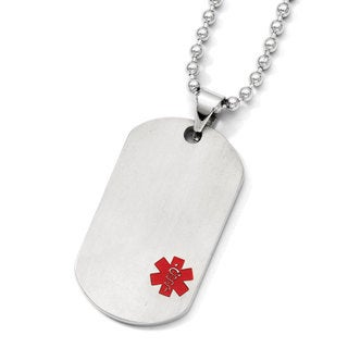 Versil Chisel Titanium Medical Jewelry Dog Tag Pendant on Stainless Steel 24-inch Necklace