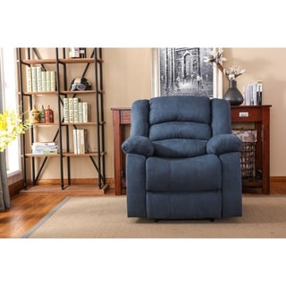 Nathaniel Home Addison Blue Microfiber, Foam, and Wood Recliner