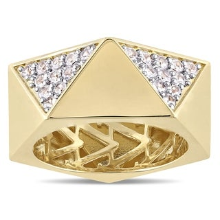 V1969 ITALIA Men's White Sapphire Openwork Ring in 18k Yellow Gold Plated Sterling Silver