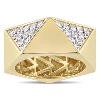 V1969 Italia Men's White Sapphire Openwork Ring in Yellow Gold Plated Sterling Silver