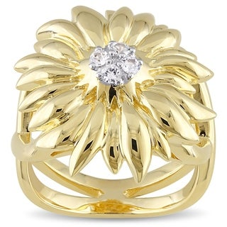 V1969 ITALIA White Sapphire Logo Flower Ring in 18k Yellow Gold Plated Sterling Silver