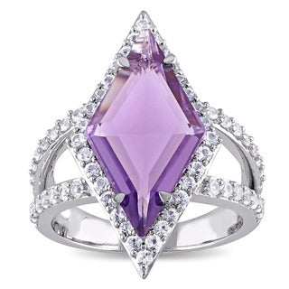 V1969 ITALIA Amethyst and White Sapphire Prism Ring in Sterling Silver (More options available)