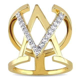 V1969 ITALIA White Sapphire Insignia Ring in 18k Yellow Gold Plated Sterling Silver