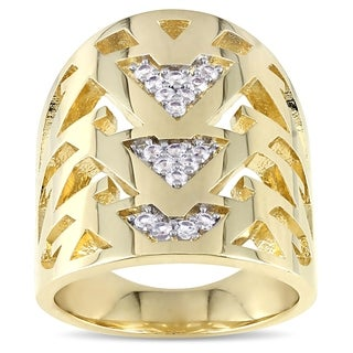 V1969 ITALIA White Sapphire Openwork Ring in 18k Yellow Gold Plated Sterling Silver