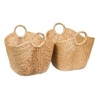 BirdRock Home Honey Rattan Water Hyacinth Laundry Baskets (Set of 2)
