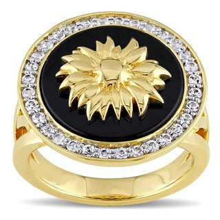V1969 ITALIA White Sapphire and Black Agate Sunflower Ring in 18k Yellow Gold Plated Sterling Silver