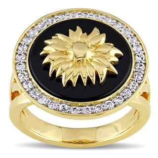 V1969 Italia White Sapphire and Black Agate Sunflower Ring in Yellow Gold Plated Sterling Silver