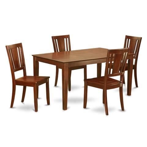 Mahogany Finish Solid Rubberwood 5-Piece Dining Set