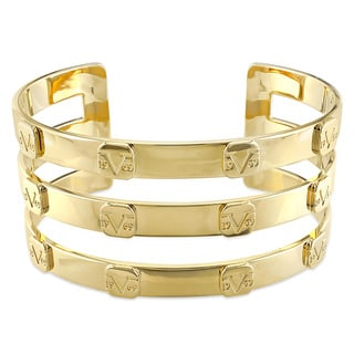 V1969 ITALIA Triple Row Raised Logo Bangle Bracelet in 18k Yellow Gold Plated Sterling Silver