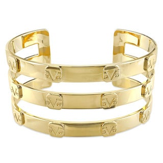 V1969 Italia Triple Row Raised Logo Bangle Bracelet in Yellow Gold Plated Sterling Silver