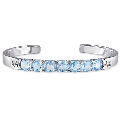Miadora Blue Topaz Bangle Bracelet in Sterling Silver