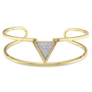V1969 ITALIA White Sapphire Insignia Bangle Bracelet in 18k Yellow Gold Plated Sterling Silver