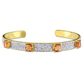 V1969 Italia Citrine and White Sapphire Bangle Bracelet in Yellow Gold Plated Sterling Silver