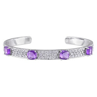 V1969 ITALIA Amethyst and White Sapphire Bangle Bracelet in Sterling Silver