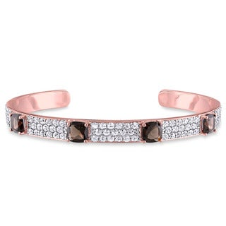 V1969 ITALIA Smokey Quartz and White Sapphire Bangle Bracelet in 18k Rose Gold Plated Sterling Silver