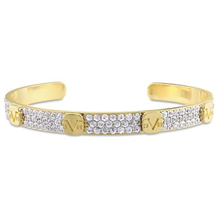 V1969 ITALIA White Sapphire Raised Logo Bangle Bracelet in 18k Yellow Gold Plated Sterling Silver