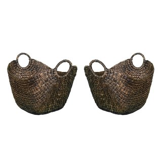 BirdRock Home Hyacinth Espresso Handwoven Rattan Laundry Baskets (Set of 2)