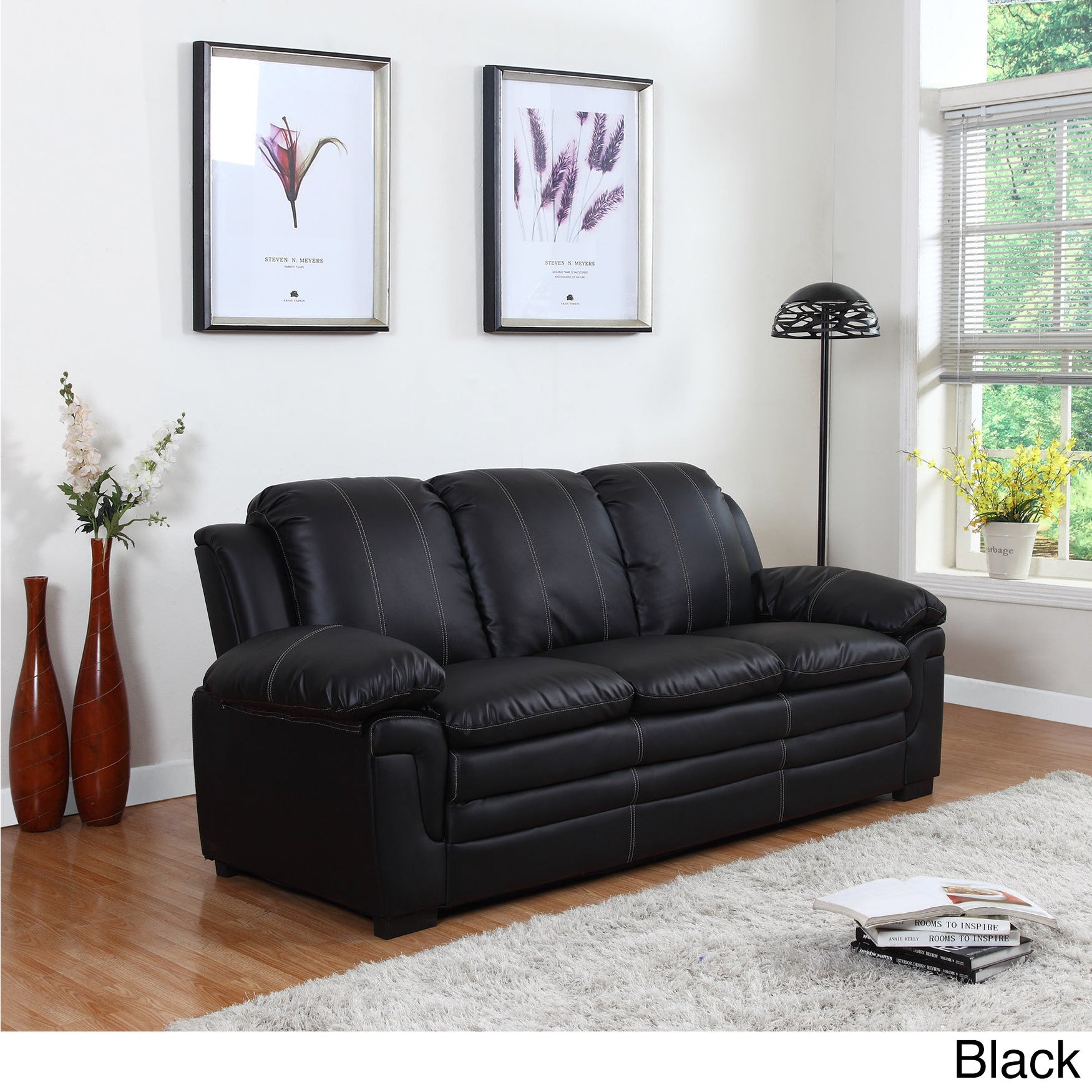 Classic Bonded Leather Living Room Sofa With White Stitch Accent Ebay