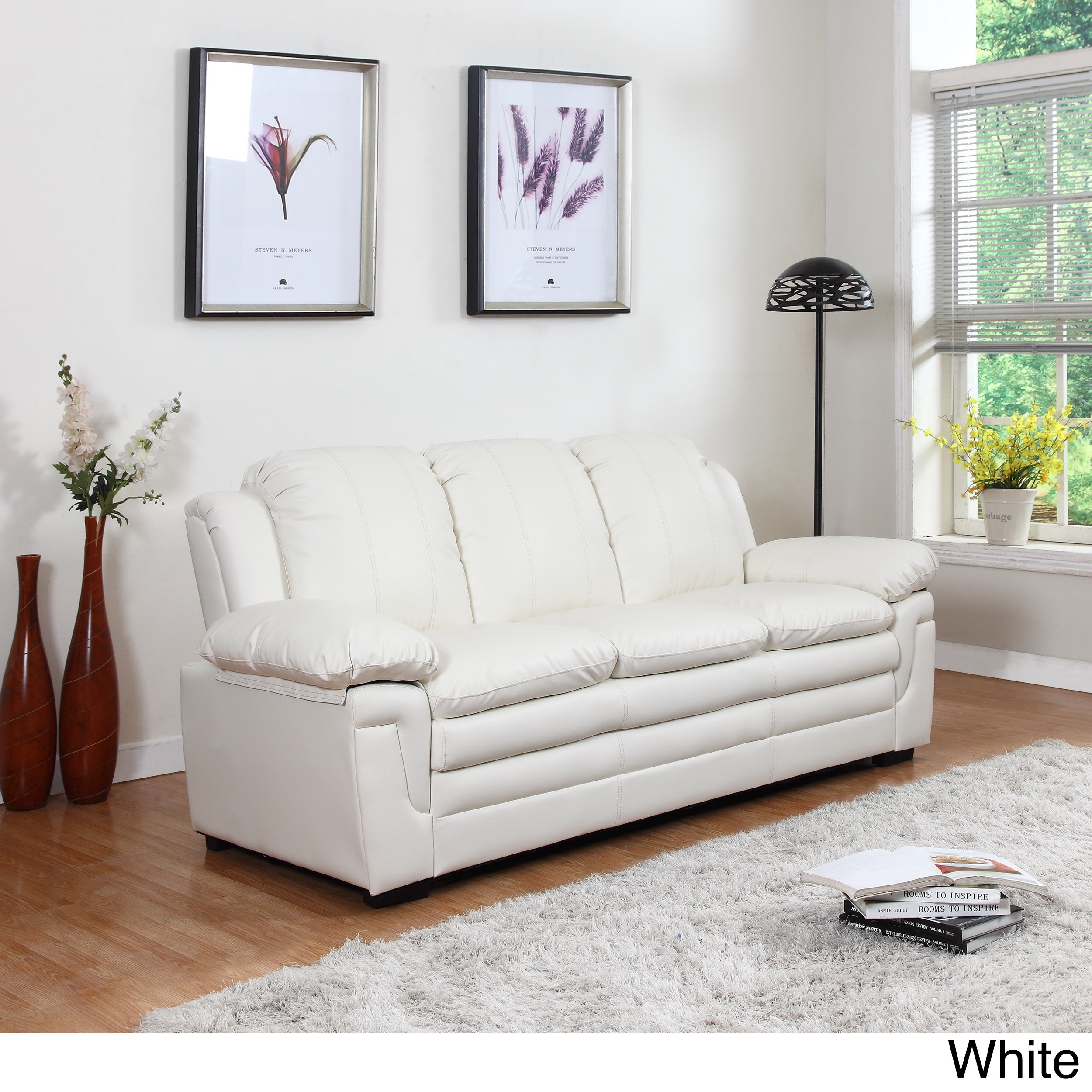 White Leather Sofa Rooms To Go: Classic Bonded Leather Living Room Sofa With White Stitch