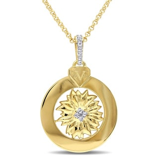 V1969 ITALIA White Sapphire Sunflower Drop Necklace in 18k Yellow Gold Plated Sterling Silver