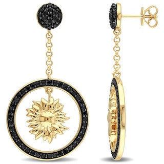 V1969 ITALIA Black Sapphire Sunflower Drop Earrings in 18k Yellow Gold Plated Sterling Silver