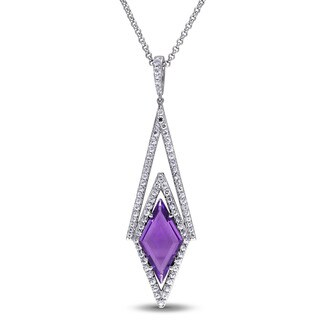 V1969 ITALIA White Sapphire and Amethyst Prism Necklace in Sterling Silver