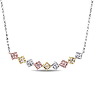 Miadora Tri-color White Yellow and Rose Plated Sterling Silver White Sapphire Zig Zag Bar Necklace