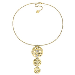 V1969 ITALIA White Sapphire Openwork Drop Necklace in 18k Yellow Gold Plated Sterling Silver