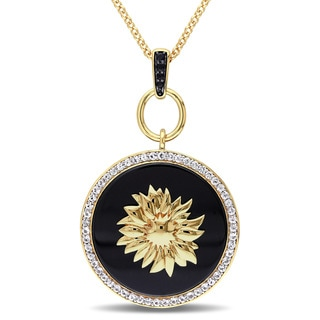 V1969 ITALIA Black Agate White and Black Sapphire Sunflower Necklace in 18k Yellow Gold Plated Sterling Silver