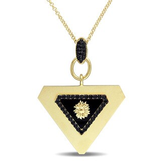 V1969 ITALIA Black Agate and Black Sapphire Mystique Necklace in 18k Yellow Gold Plated Sterling Silver