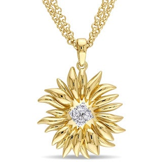 V1969 ITALIA White Sapphire Sunflower Necklace in 18k Yellow Gold Plated Sterling Silver