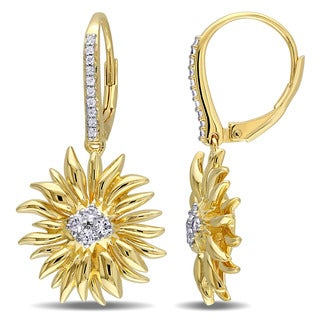 V1969 ITALIA White Sapphire Sunflower Drop Earrings in 18k Yellow Gold Plated Sterling Silver