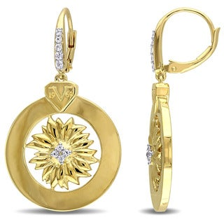 V1969 ITALIA White Sapphire Sunflower Earrings in 18k Yellow Gold Plated Sterling Silver